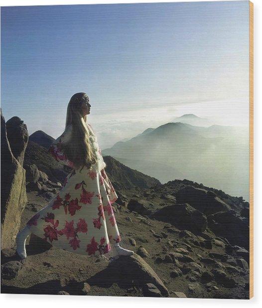 Francoise Rubartelli Wearing A Floral Dress Wood Print