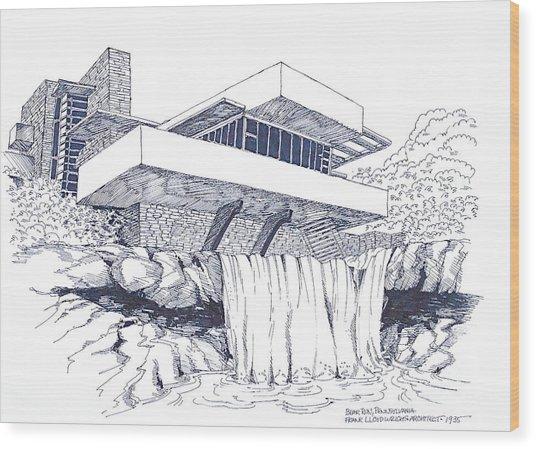 Frank Lloyd Wright Falling Water Architecture Wood Print