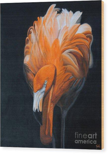 Frank The Flamingo Wood Print