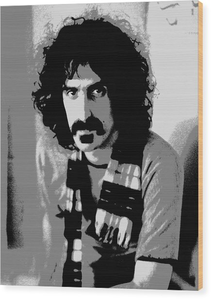 Frank Zappa - Chalk And Charcoal 2 Wood Print by Joann Vitali