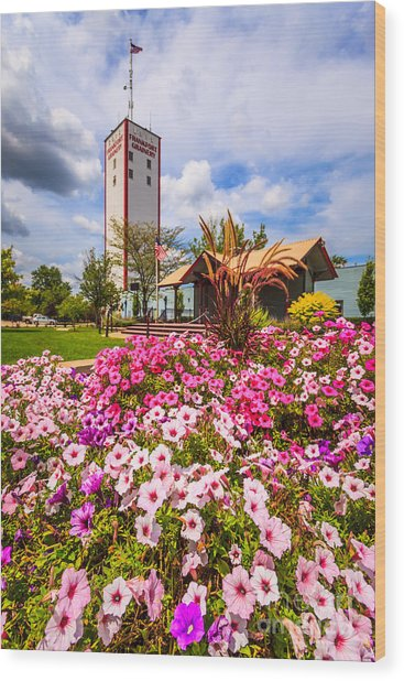 Frankfort Grainery And Flowers In Frankfort Illinois Wood Print