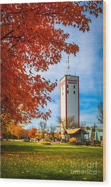 Frankfort Illinois In Autumn With Frankfort Grainery Wood Print