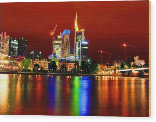 Frankfurt Red Skyline Wood Print