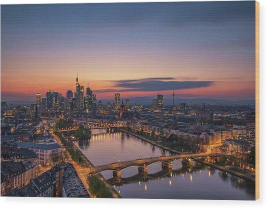 Frankfurt Skyline At Sunset Wood Print by Robin Oelschlegel