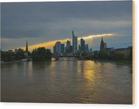 Frankfurt Sunset Wood Print by Steven Richman