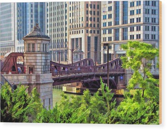 Chicago Franklin Street Bridge Wood Print