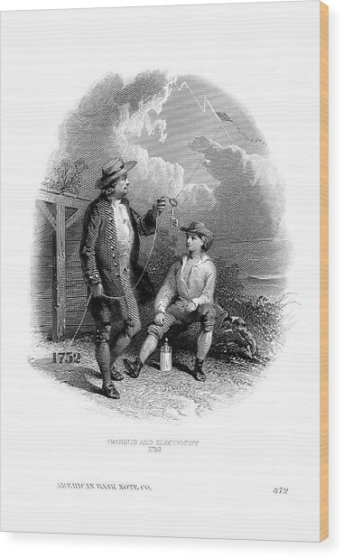 Franklin's Kite Experiment Wood Print by American Philosophical Society