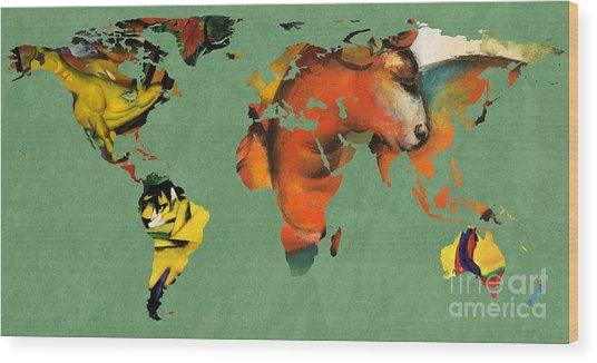 Franz Marc 3  World Map Wood Print