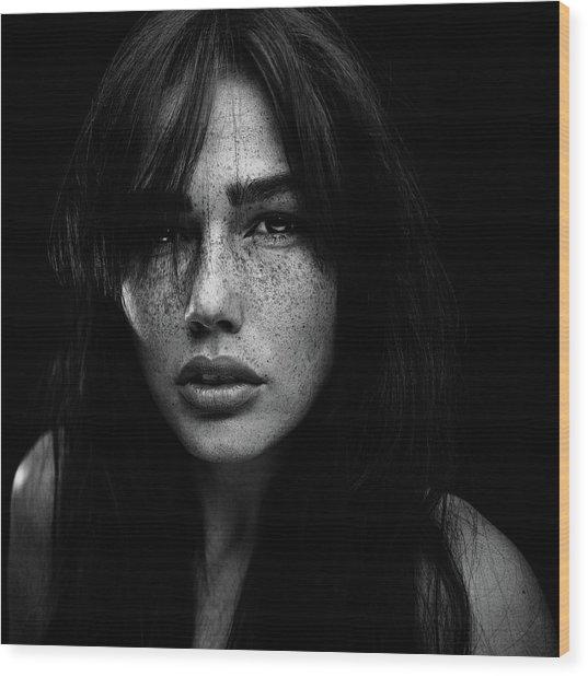 Freckles [romi] Wood Print by Martin Krystynek Qep