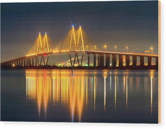 Fred Hartman Bridge At Night Wood Print