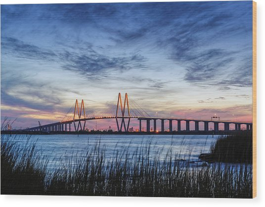 Fred Hartman Bridge At Twilight Hour Wood Print