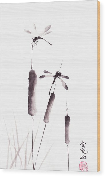 Free As The Dragonflies Wood Print