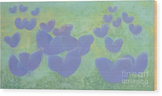 Free Your Hearts Green Lilac Abstract By Chakramoon Wood Print by Belinda Capol