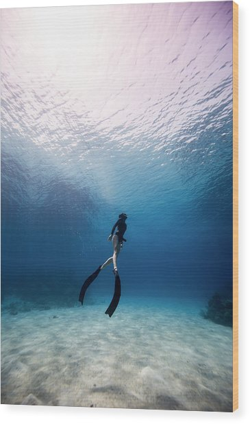 Freediver Wood Print by One ocean One breath