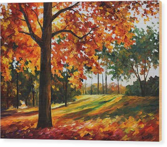 Freedom Of Autumn - Palette Knife Oil Painting On Canvas By Leonid Afremov Wood Print
