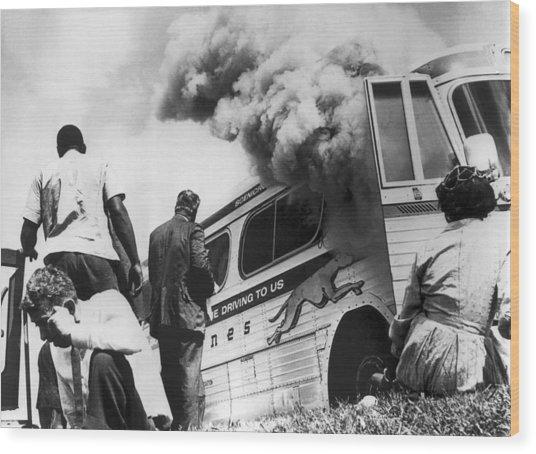 Freedom Riders Bus Burned Wood Print