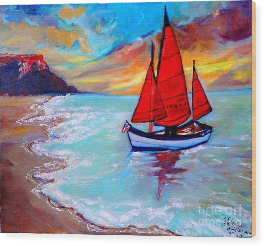 Freedom Sails Wood Print