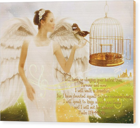 Freedom Song With Scripture Wood Print