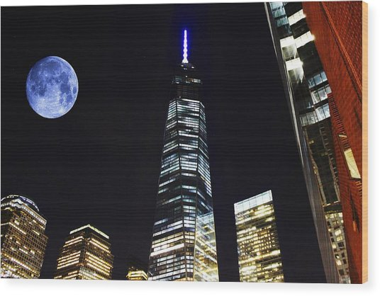 Freedom Tower And Blue Moon Wood Print