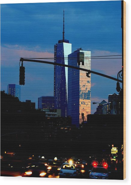 Freedom Tower New York Ny At Dusk Wood Print by Ron Bartels