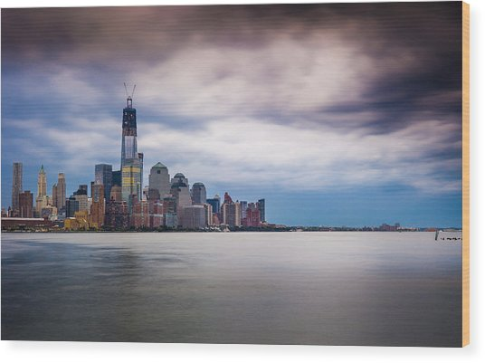 Freedom Tower Over The Hudson Wood Print by Chris Halford