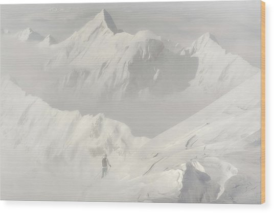 Freeride Wood Print by Margit Lisa Roeder