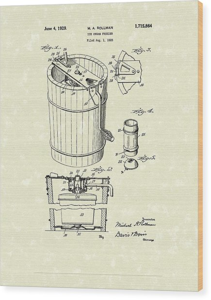 Freezer 1929 Patent Art Wood Print