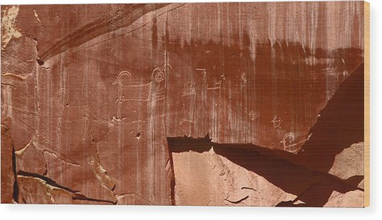 Fremont Culture Petroglyphs In Utah Wood Print