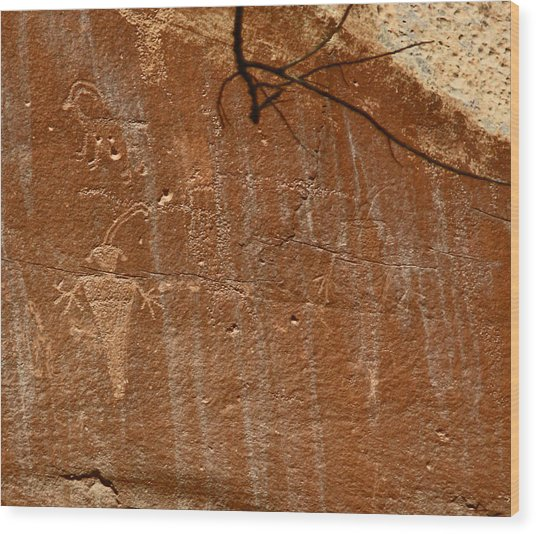 Fremont Culture Rock Art In Utah Wood Print