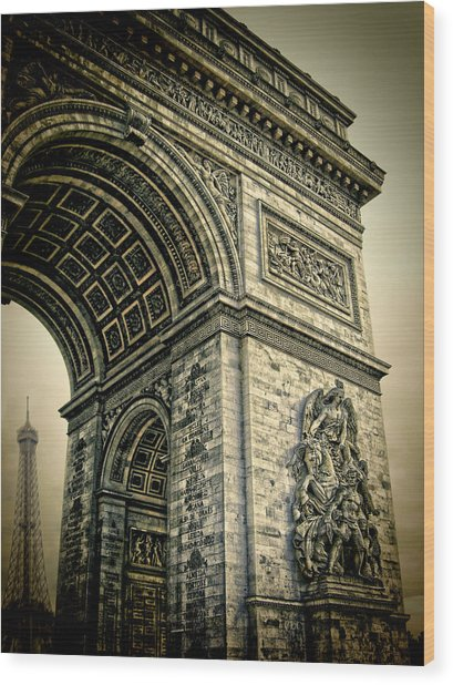 French - Arc De Triomphe And Eiffel Tower Wood Print by Lee Dos Santos