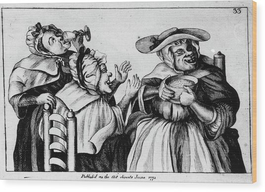 French 18th Century Caricature Of Alcoholic Women Wood Print