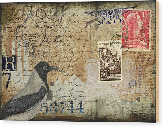 French Bird Postcard Wood Print