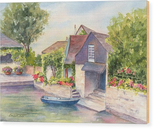 French Boathouse  Azay Le Rideau Wood Print