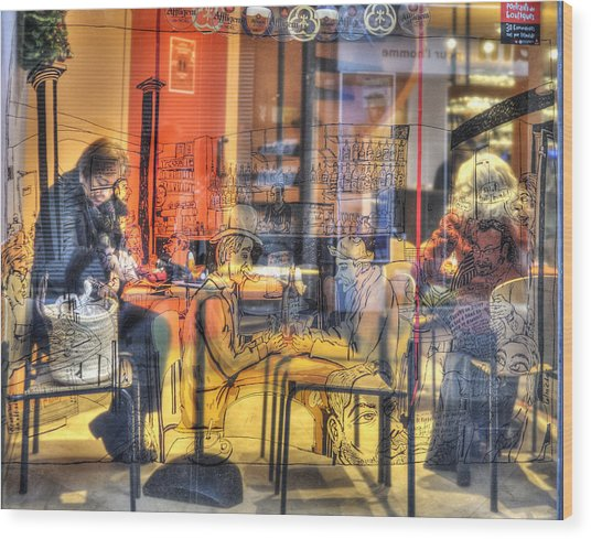 French Cafe Life Wood Print