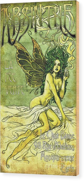 French Cafe Poster C1885 Wood Print
