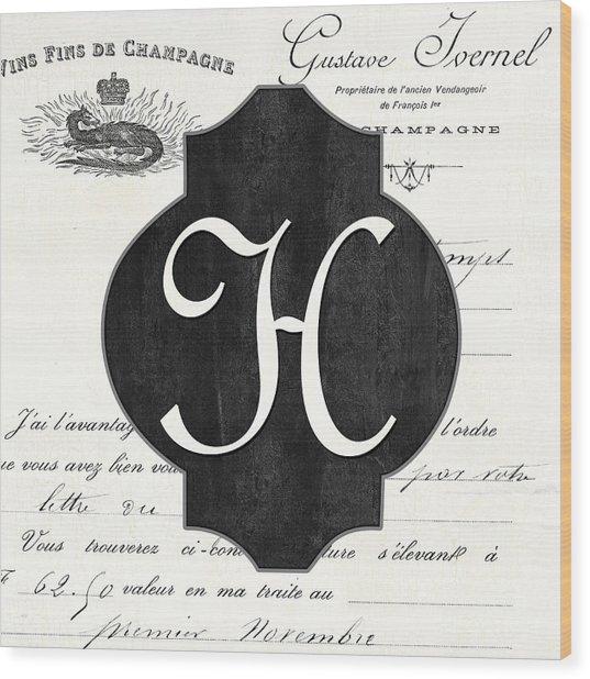 French Champagne Monogram Wood Print