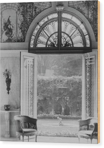 French Doors Leading To A Garden Wood Print