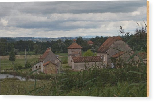 French Farm House Wood Print