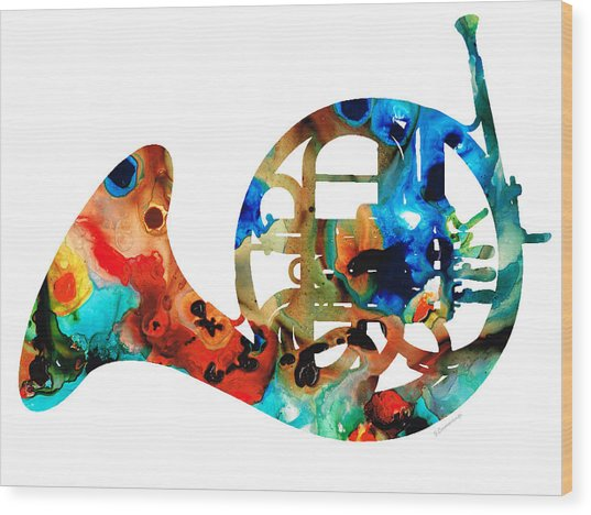 French Horn - Colorful Music By Sharon Cummings Wood Print