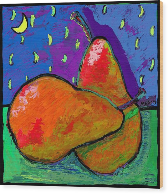 French Pears At Midnight Wood Print