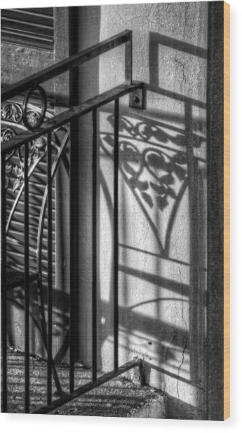 French Quarter Balcony Shadow Wood Print