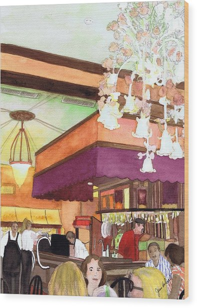 French Quarter Dining-coffee Pot Restaurant Wood Print