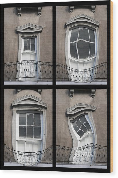French Quarter Distorted Door Wood Print
