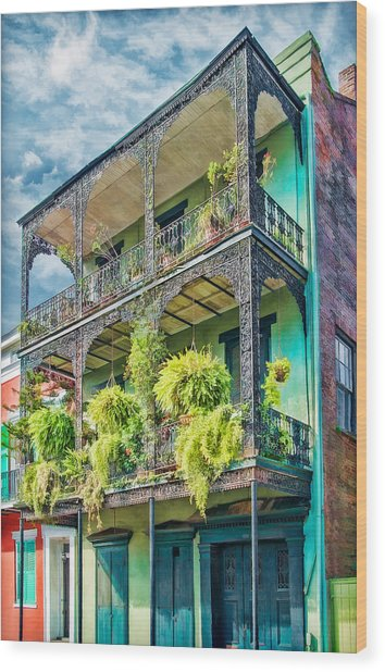 French Quarter Ferns Wood Print