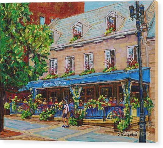 French Restaurant Jardin Nelson Paris Style Bistro Place Jacques Cartier Terrace Garden C Spandau   Wood Print