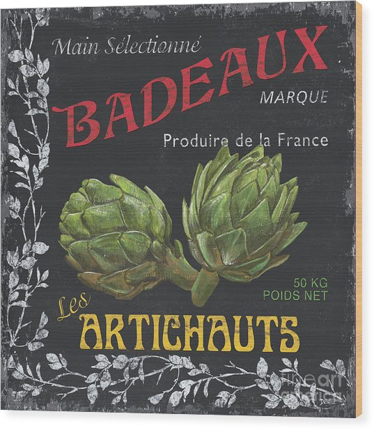 French Veggie Labels 1 Wood Print