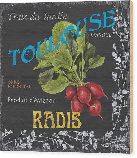 French Veggie Labels 3 Wood Print