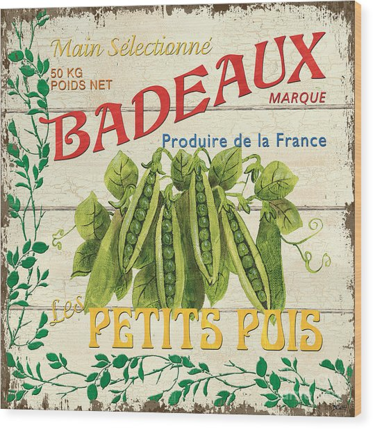 French Veggie Sign 1 Wood Print