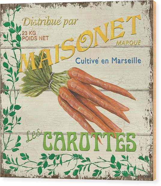 French Veggie Sign 2 Wood Print