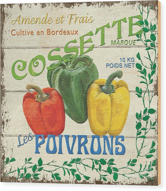 French Veggie Sign 4 Wood Print